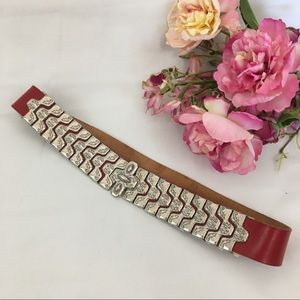 Red Genuine Leather Silver Ornate Clasp Belt